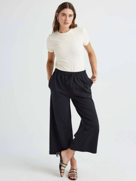 Terry Wide Leg Pant - Black