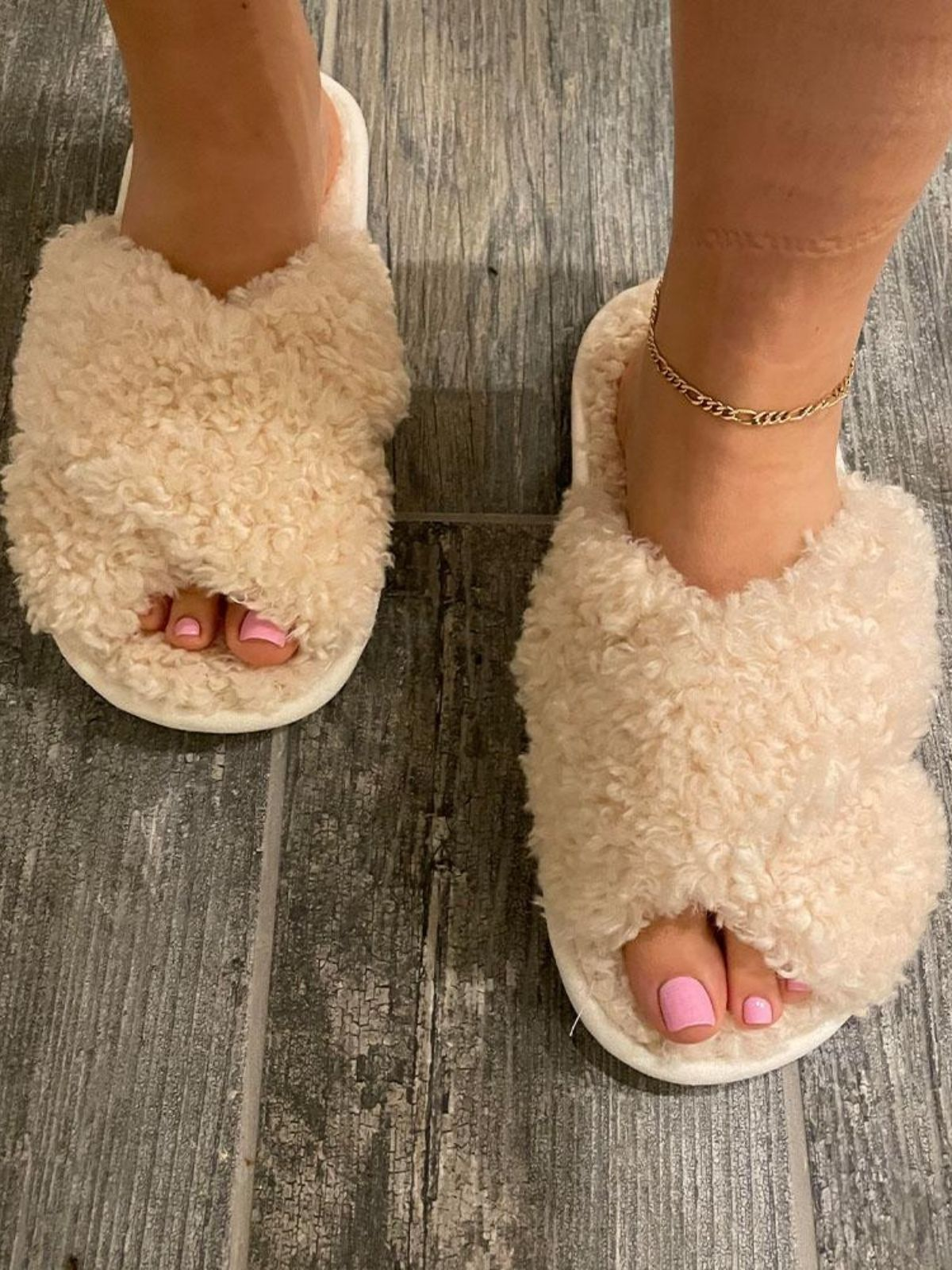 Faux Shearling Slippers Cream