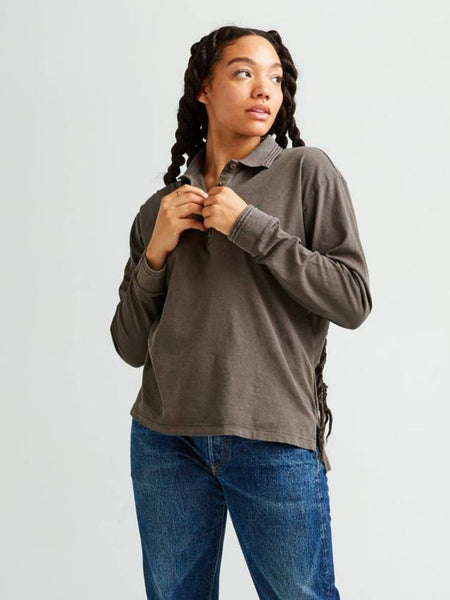 Relaxed Long Sleeve Polo - Bitter Brown