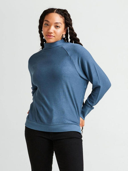 Cozy Knit Long Sleeve Sweater - Blue Mirage