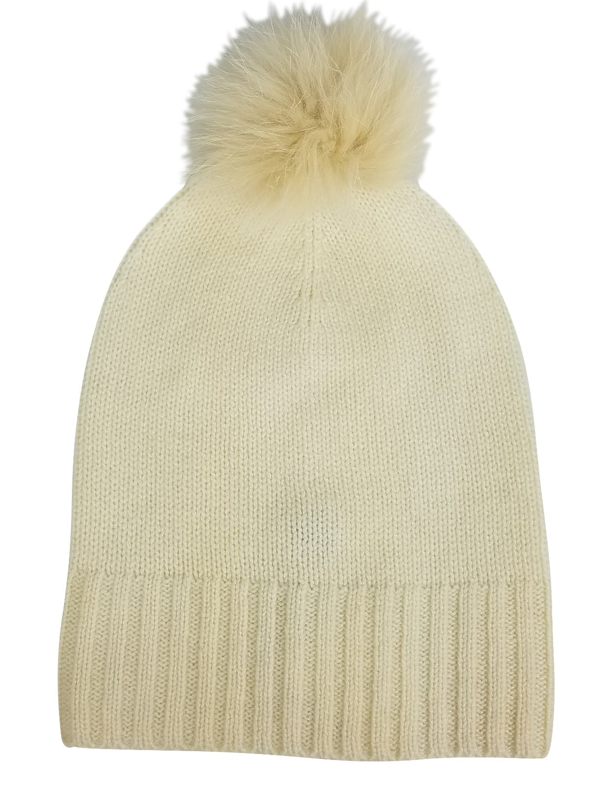 Cashmere Slouchy Cuff Hat with Fur Pom