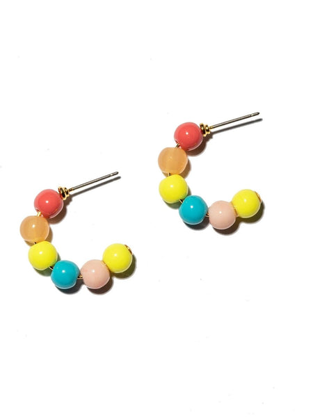 Beaded Huggie Hoop Earrings - Primary Sunset