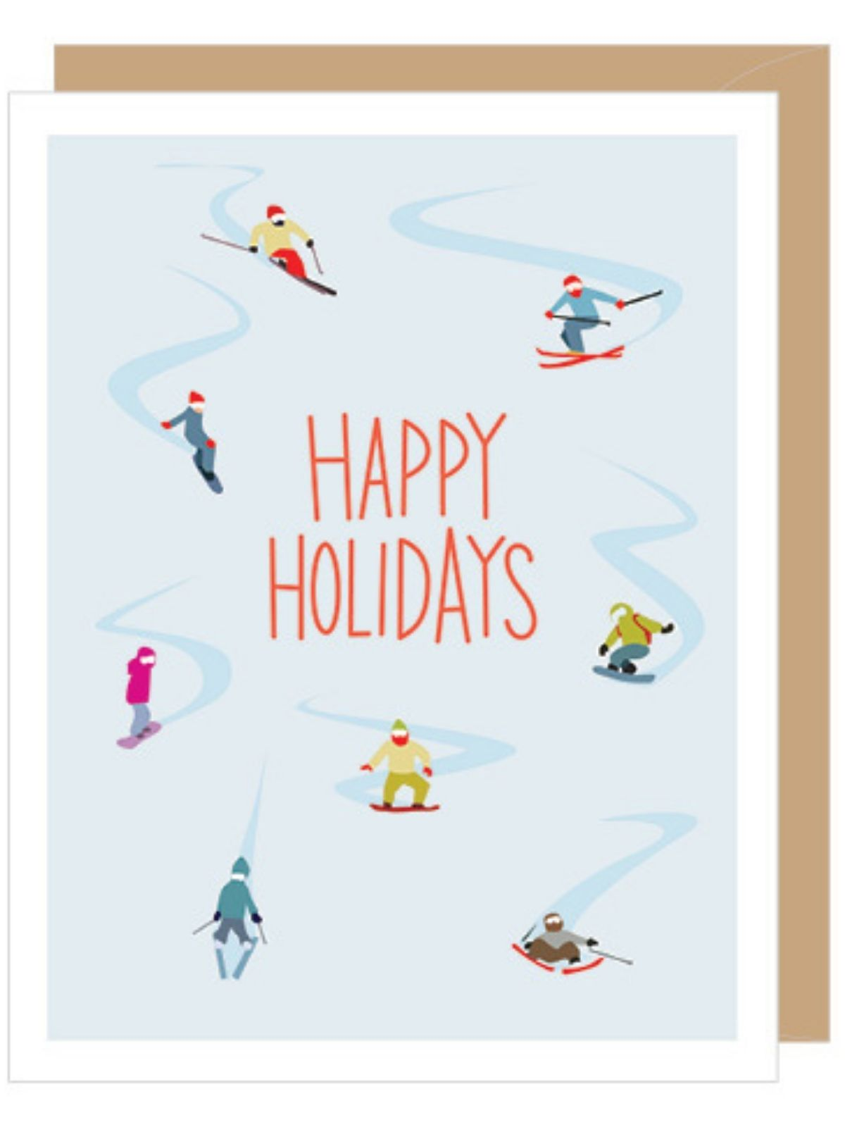 Holiday Skiers Card Box of Ten