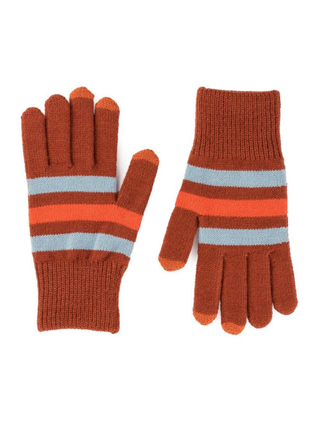 Stripe Touchscreen Gloves - Stone Blue Rust