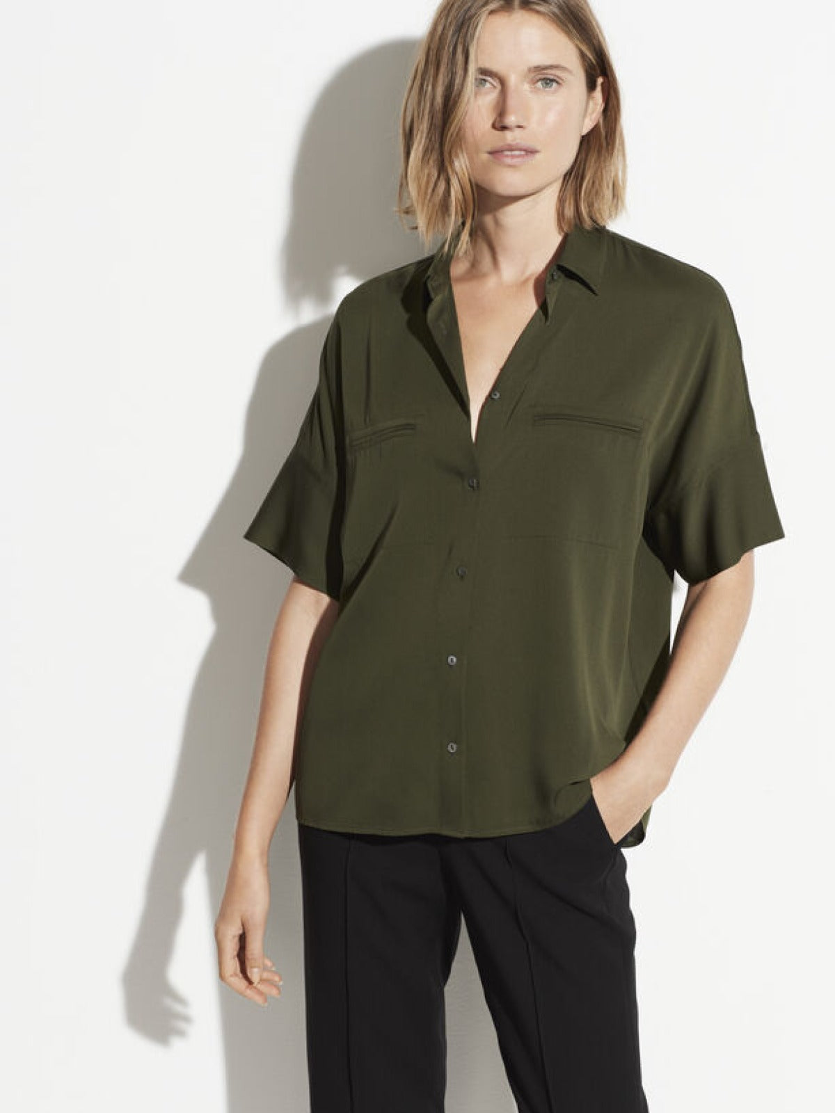 Stretch Satin Short Sleeve Blouse