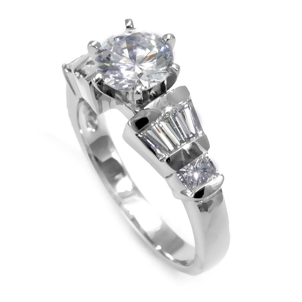 14K White Gold Engagement Ring with Baguette And Princess Cut Diamond Side Stones