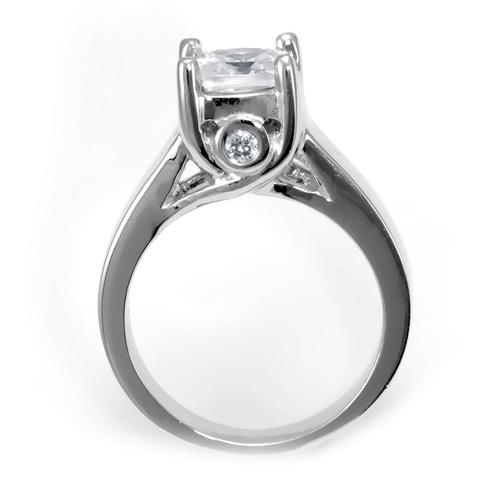 14K White Gold Engagement Ring with 2 Bezel Set Round Diamonds