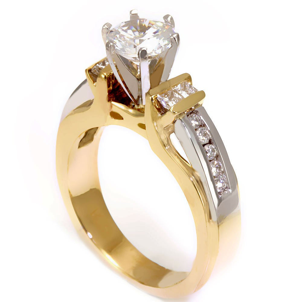 14k Two Tone Engagement Ring with Round and Princess Cut Diamond Side Stones