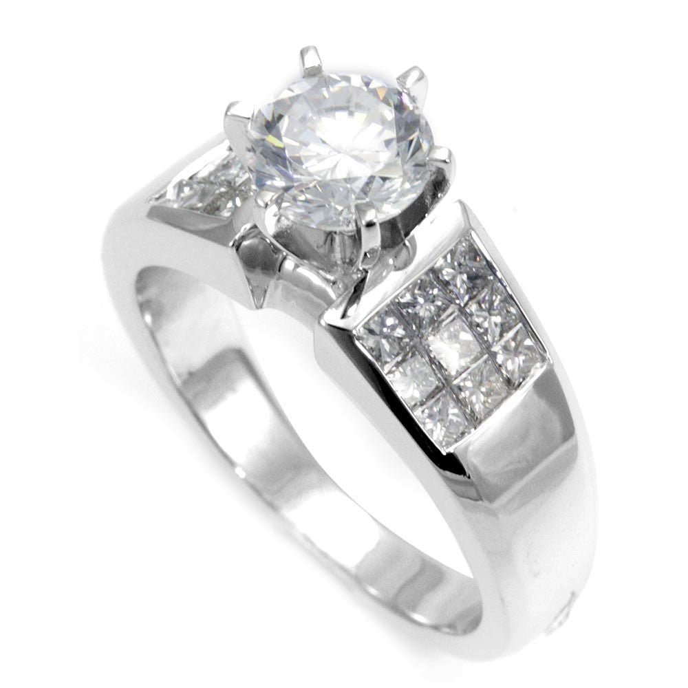 Invisible Set Princess Cut Diamonds in 14K White Gold Engagement Ring