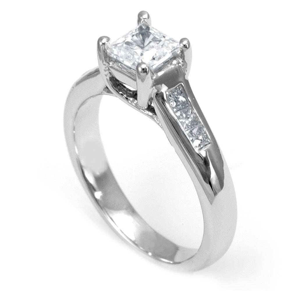 14K White Gold Engagement Ring with Princess Cut Diamond Side Stones