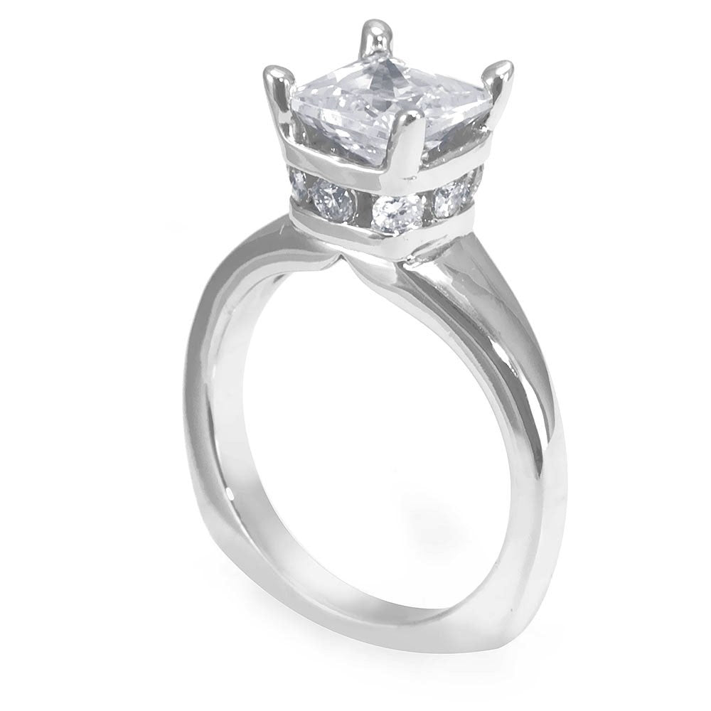 Crown Design Engagement Ring with Channel set Round Diamonds in 14K White Gold