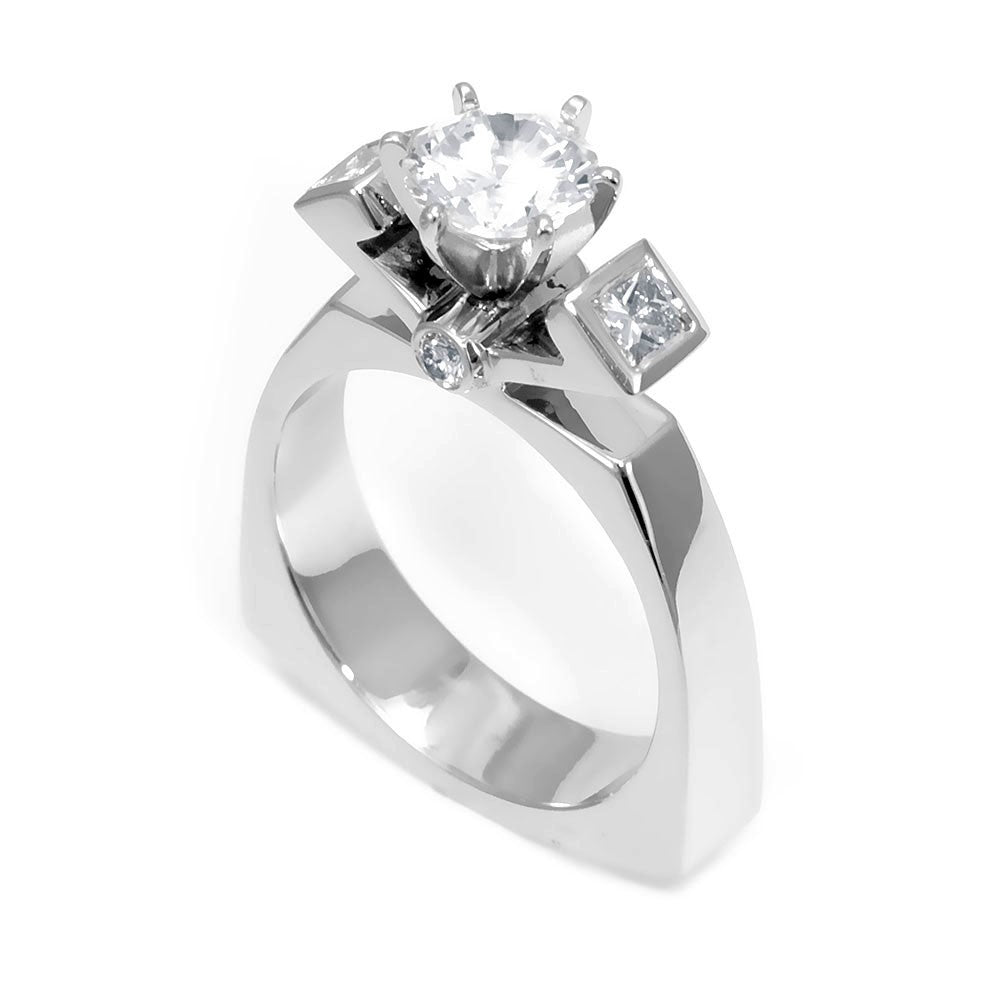 14K White Gold Engagement Ring with Round and Princess Cut Diamonds