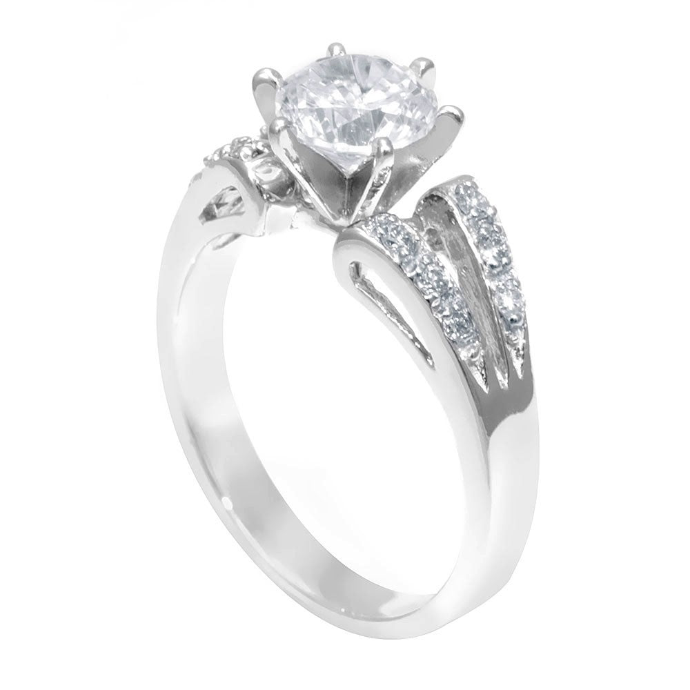 Unique Design Engagement Ring with Pave Set Round Diamonds