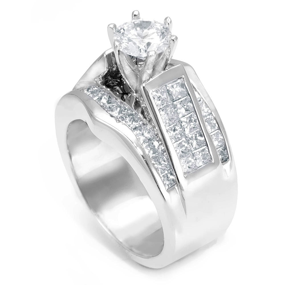 Wide 14K White Gold Engagement Ring with Princess Cut Diamond Side Stones