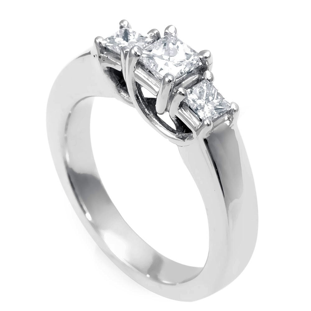 3 Princess Cut Diamond Engagement Ring in 14K White Gold