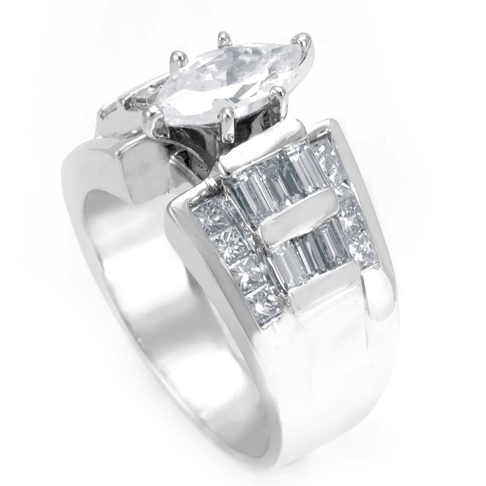 Marquise CZ Center Engagement Ring in 14K White Gold