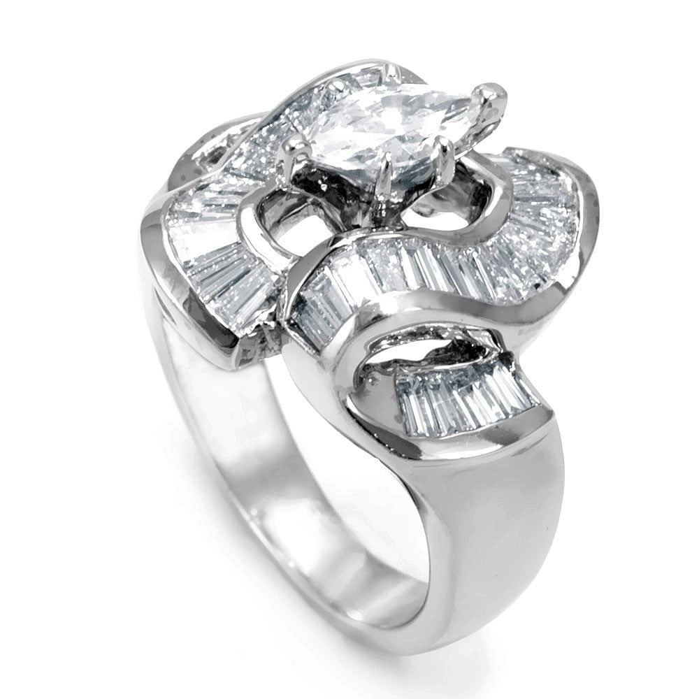 Marquise CZ Center Engagement Ring with Baguette Diamonds in 14K White Gold