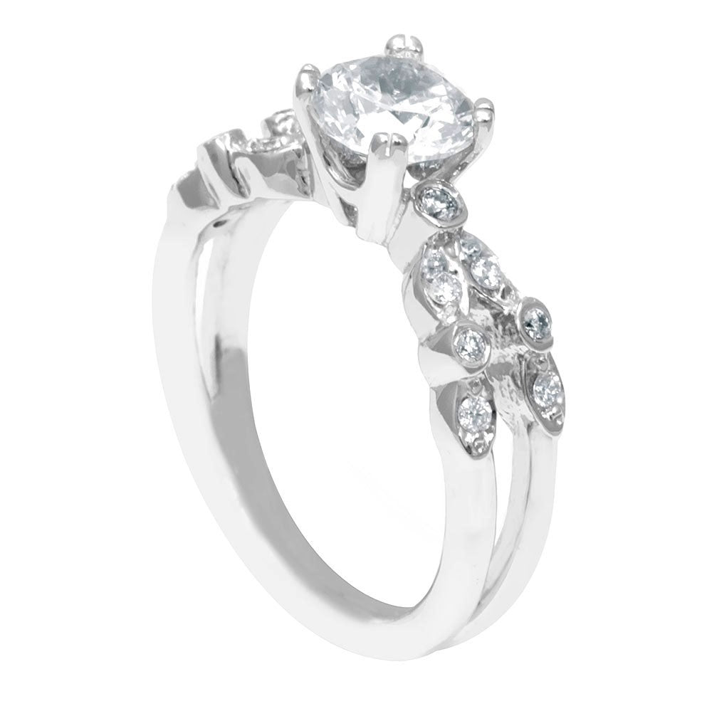14K White Gold Engagement Ring with Round Diamond Side Stones