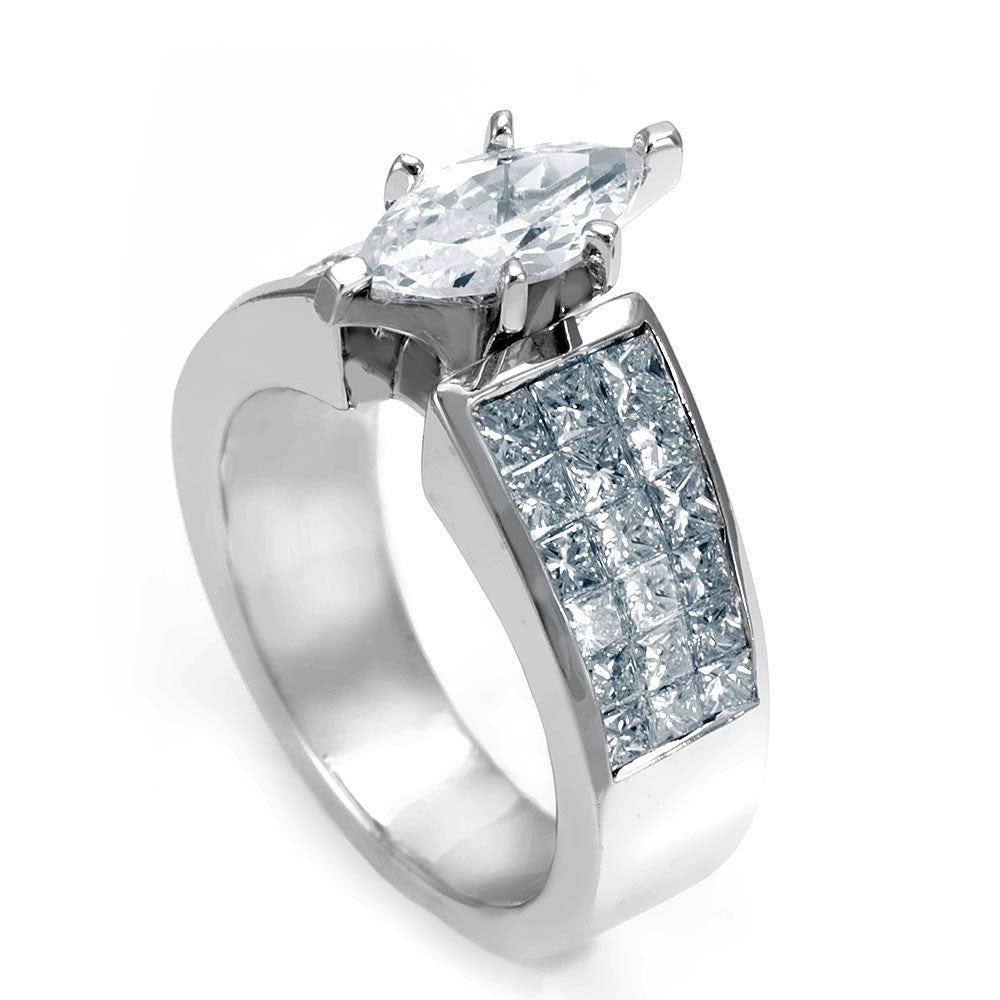 14K White Gold Engagement Ring with Invisible Set Princess Cut Diamond Side Stones