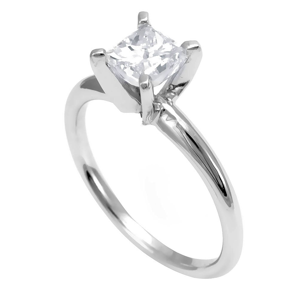 14K White Gold Solitaire Engagement Ring with Princess Cut Diamond
