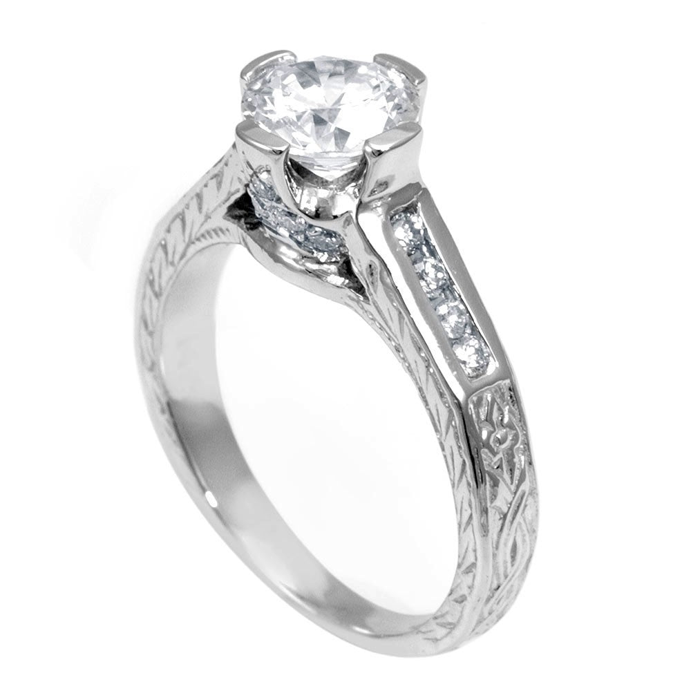 14K White Gold Engraved Engagement Ring with Channel Set Round Diamond Side Stones