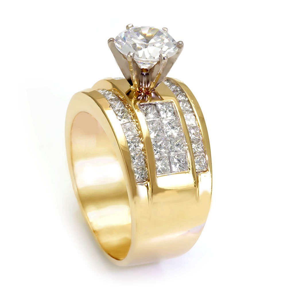 Invisible Set Princess Cut Diamonds in 14K Yellow Gold Engagement Ring
