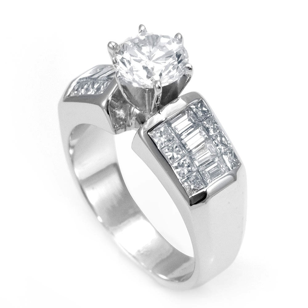 14k White Gold Engagement Ring With Baguette And Princess Cut Diamond Koko S Designs