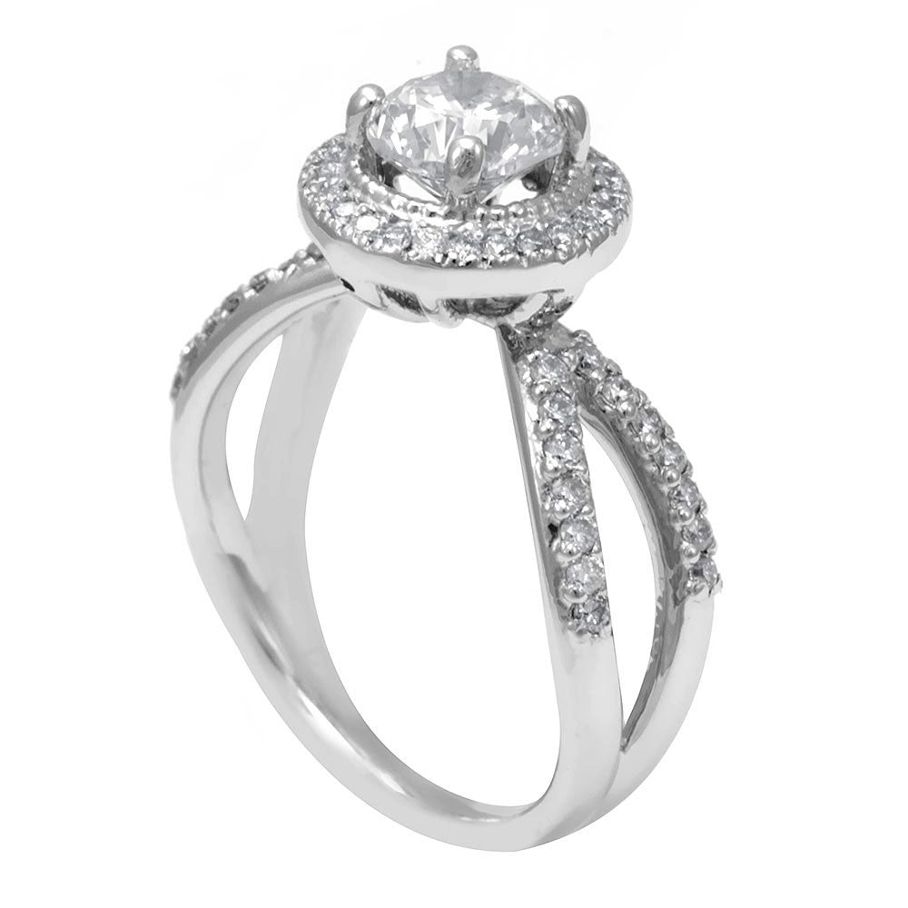 14K White Gold Engagement Ring with Round Diamonds Micro Pave Set in Halo Head