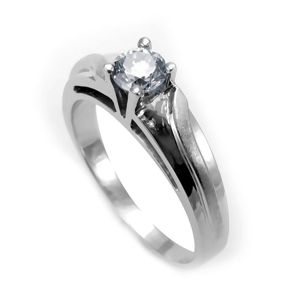14K White Gold Engagement Ring with Round Diamond Center