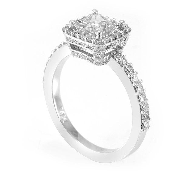 14K White Gold Engagement Ring with Halo Pave Set Round Diamond Side Stones