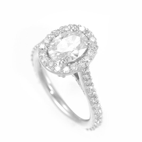 Halo Oval Shape CZ 14K White Gold Engagement Ring with Round Diamonds
