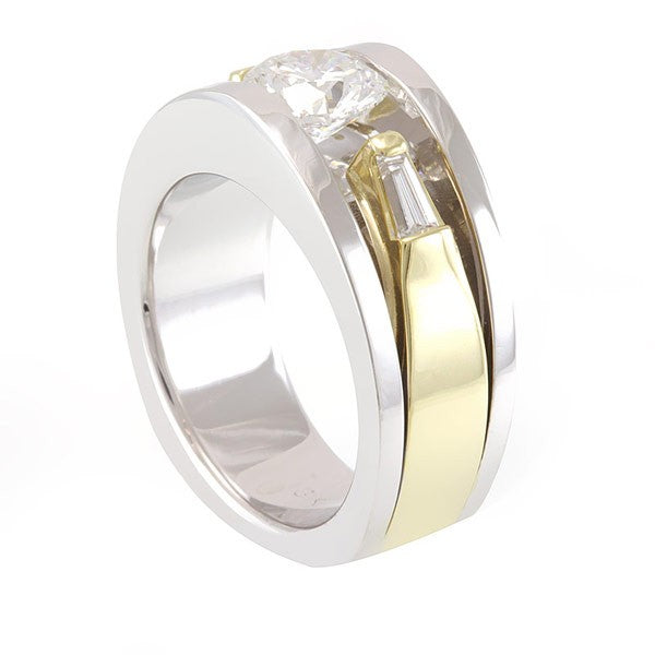 14k Two Tone Engagement Ring with Baguette Diamond Side Stones
