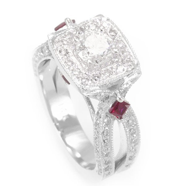 An elegant Engagement Ring with unique design complimented with Round Diamond And Rubies