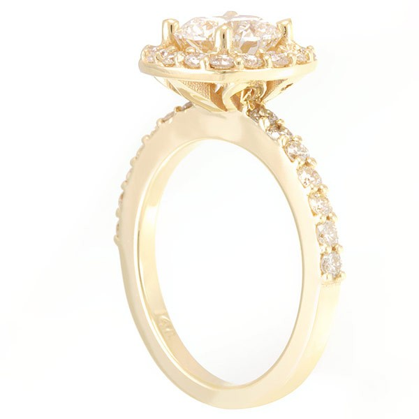 Halo Round Diamond Engagement Ring in 14K Yellow Gold