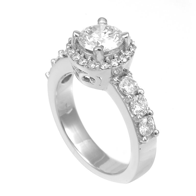 14K White Gold Engagement Ring with Halo Prong Set Round Diamond Side Stones