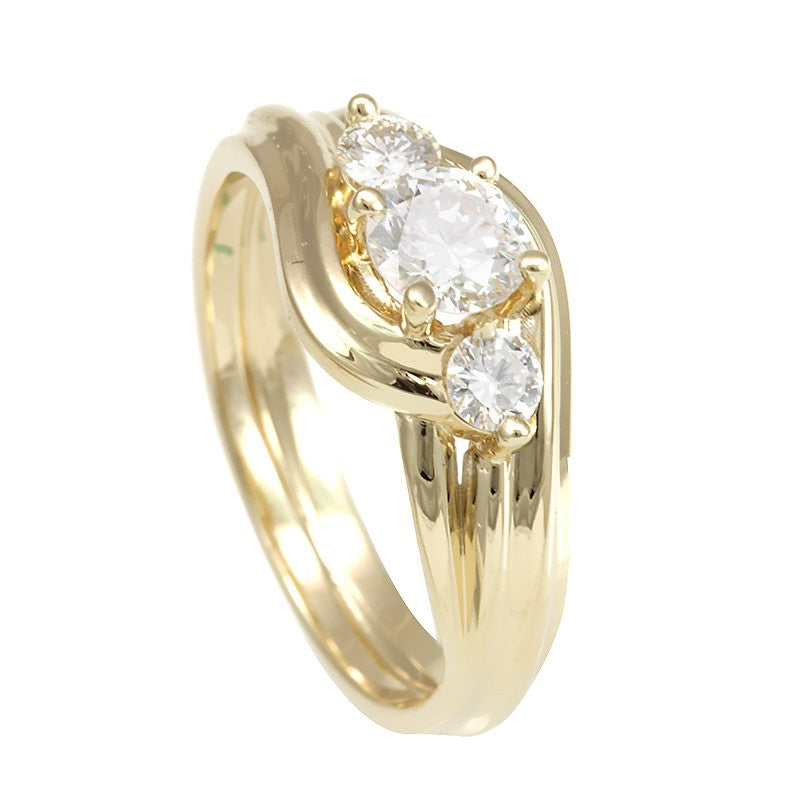3 Diamond Engagement Ring in 14K Yellow Gold