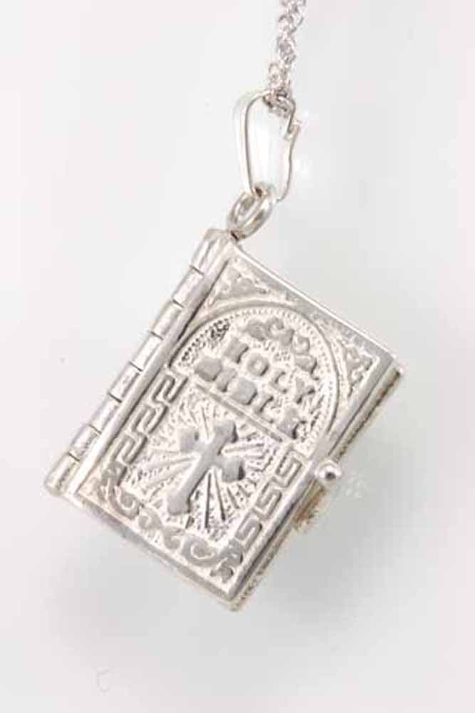 English Holy Bible Book Charm Pendant in Silver
