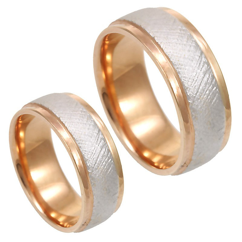 Rough Sandblast 14K White and Rose Gold Comfort Fit Band