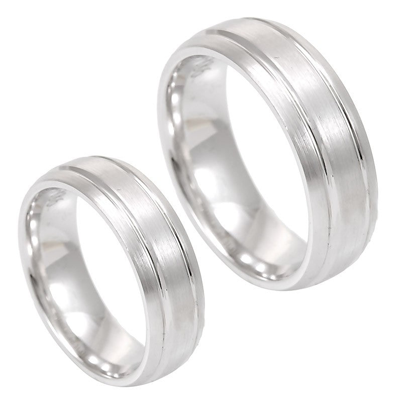 Shiny 14K White Gold Rounded Comfort Fit Band with 2 deep engraved lines