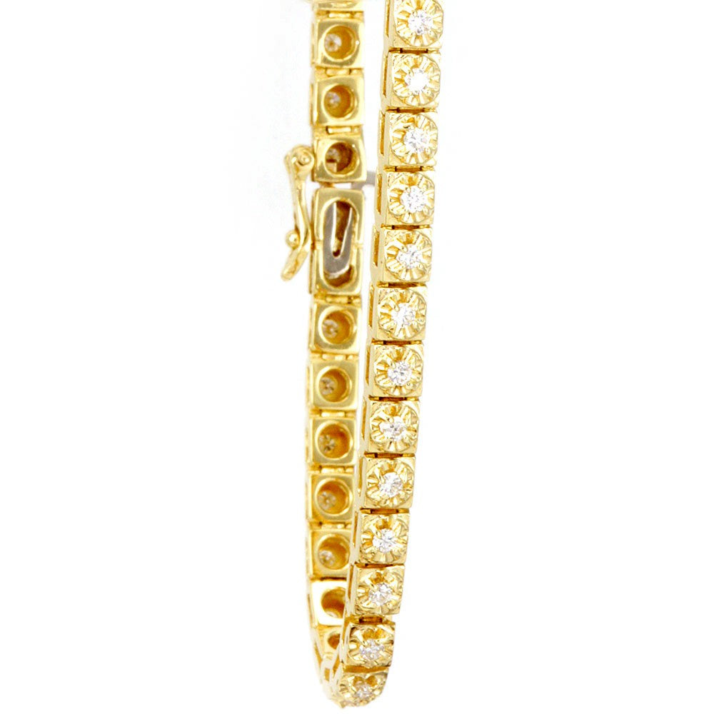 Prong Set Round Diamond Tennis Bracelet cast in 14K Yellow Gold