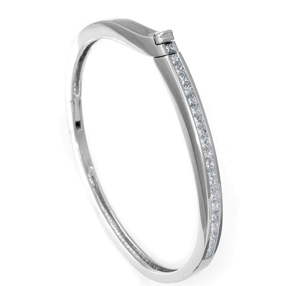 14K White Gold Bangle complimented with Princess Cut Diamond