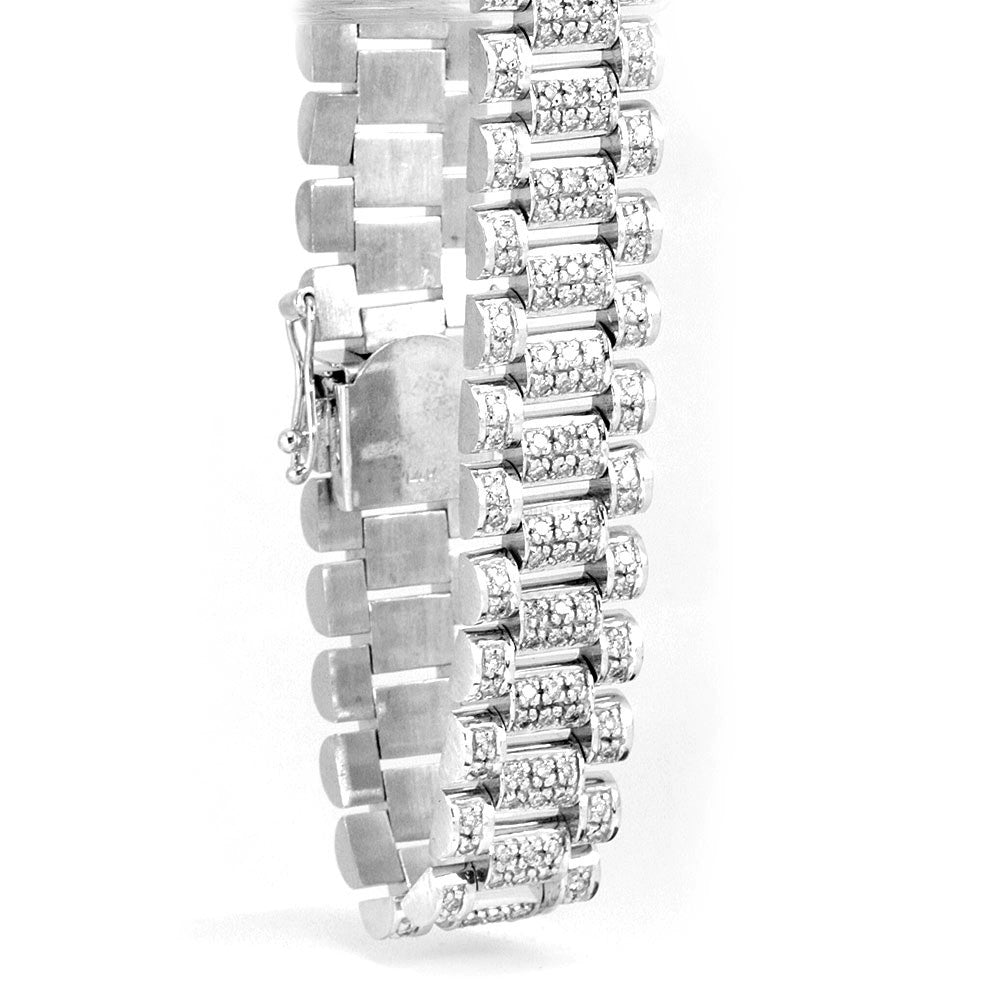 Heavy and wide 14K White Gold Diamond Tennis Bracelet
