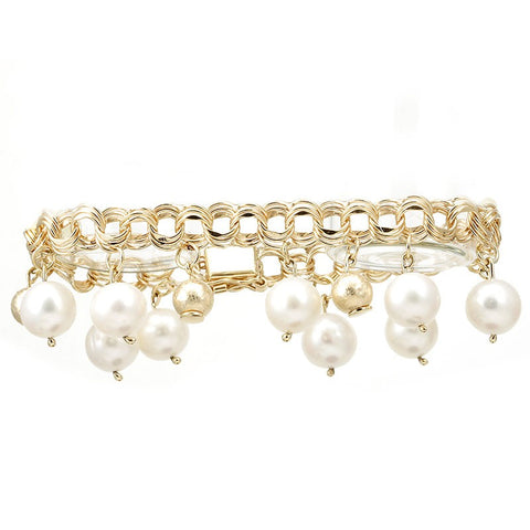 Triple Round Links 14K Yellow Gold Bracelet with White Pearl Charms