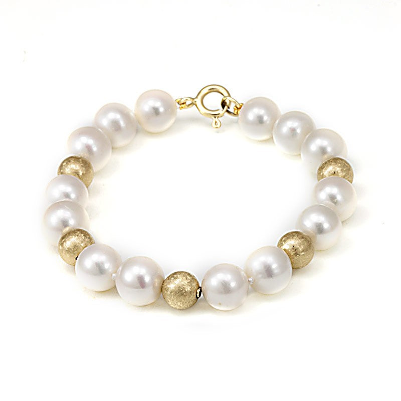 Mother Pearls with Gold Beads Bracelet