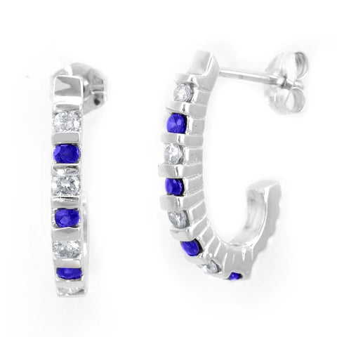 Blue Sapphires and Round Diamonds Semi Hoop Earrings