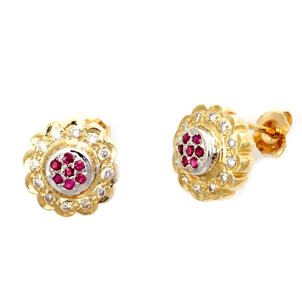 Round Diamonds and Rubies Flower Design Earrings
