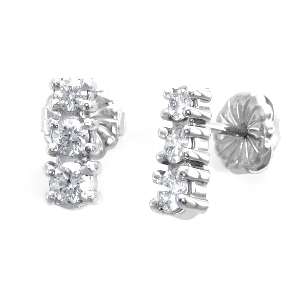 3 Diamond Drop Down Earrings in 14K White Gold