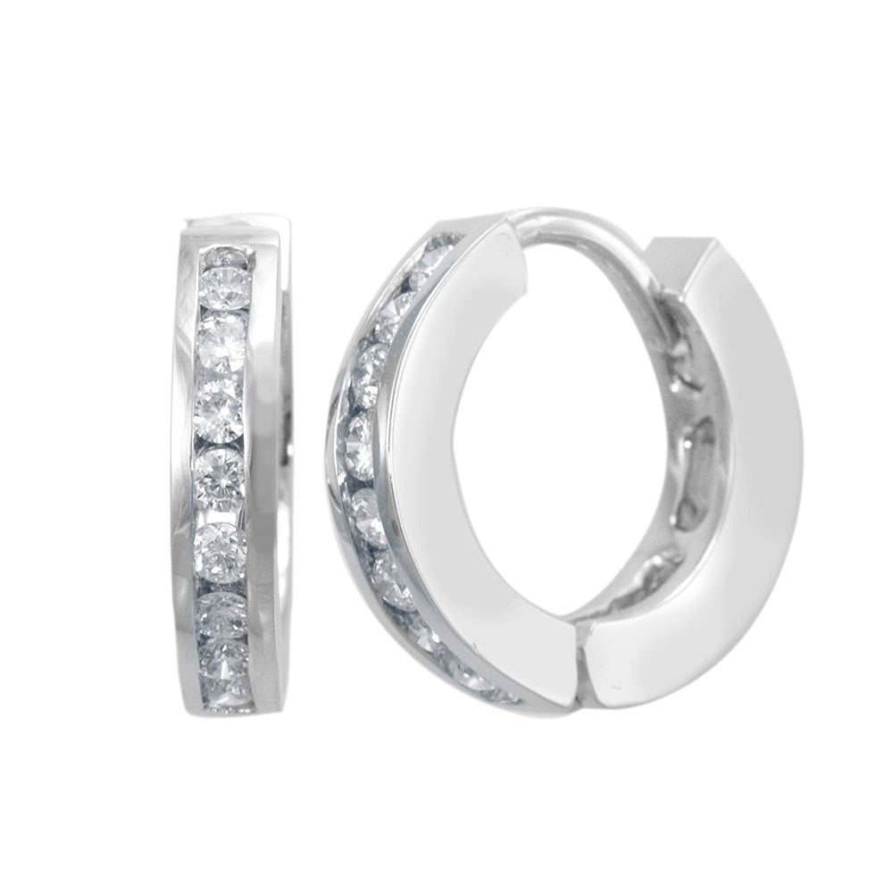 14K White Gold Channel Set Diamonds Hoop Earrings