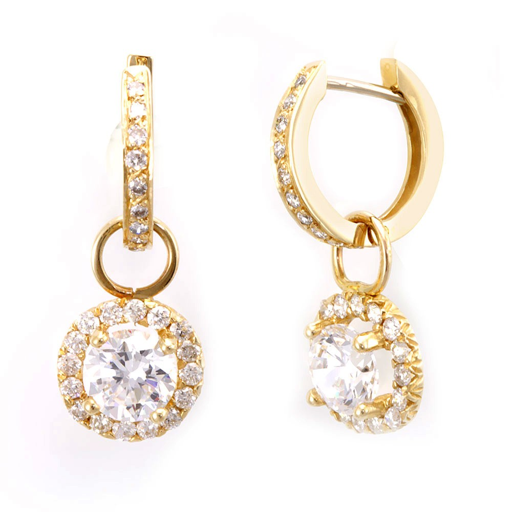 14K Yellow Gold Hoop Earrings with Halo Diamond Charms