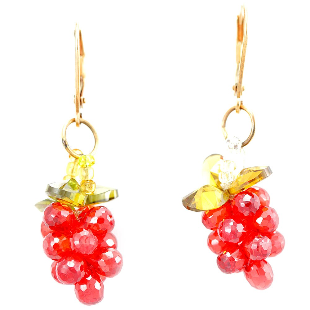 Orange Crystal Dangling Earrings with Lever Backing